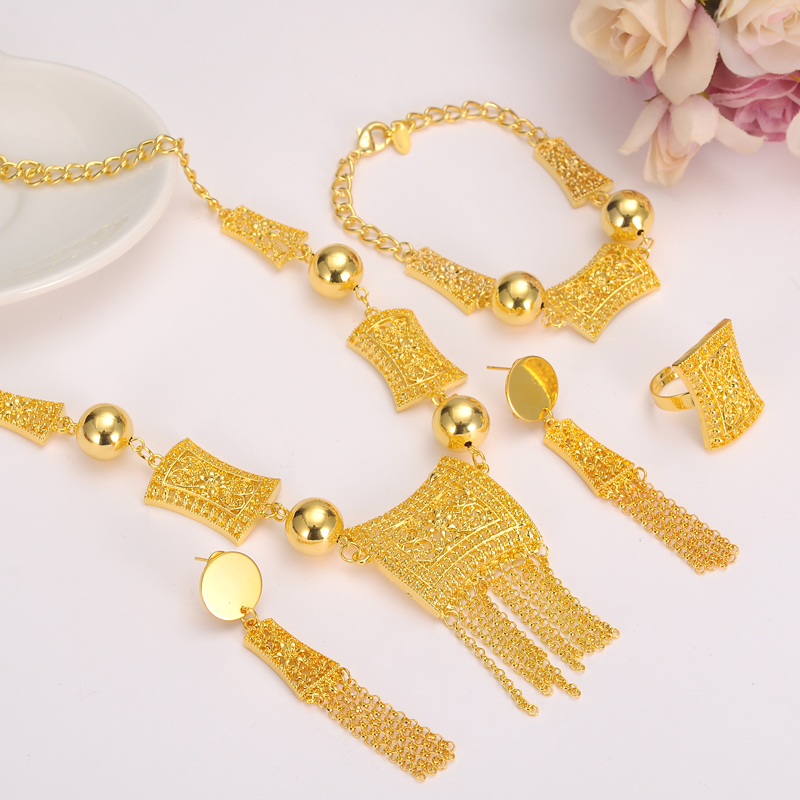 Bangrui Bangle-Set Jewelry-Set Necklace Pendants Eritrea Eretrian Earrings Gold-Color