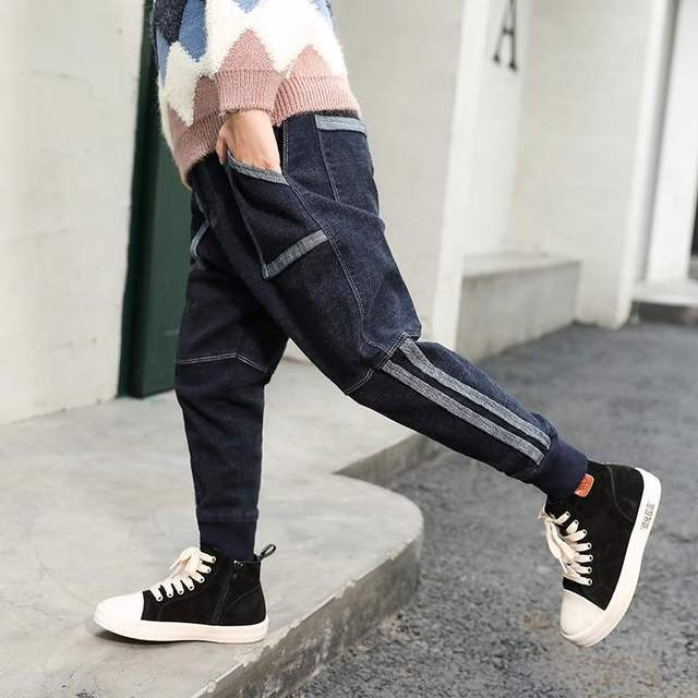 Fashionable Jeans For Boys Children's Jeans 2019 New Elastic Waist Loose Geometric Casual Cowboy Pants High Quality