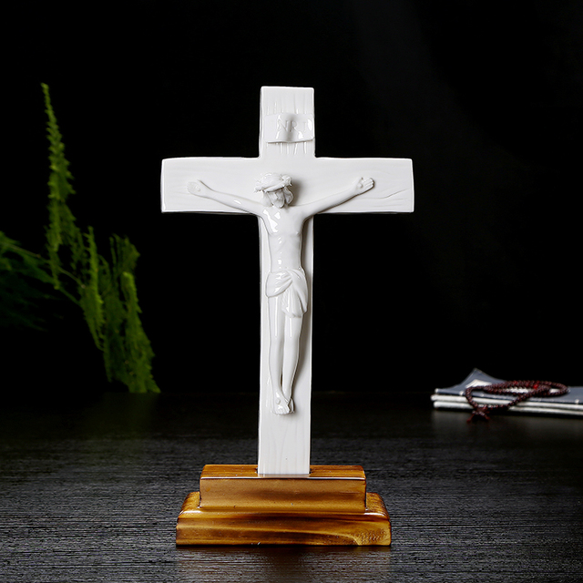 Catholic Holy Crucifix Ceramic Ornaments Gift Home Decor Jesu Cross Exquisite Lamb Of