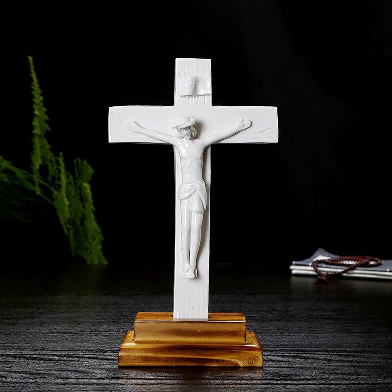 Catholique saint Crucifix chrétien jésus ornements en céramique cadeau Bible décor à la maison Jesu croix exquis agneau de dieu figure statue