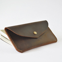 Luxury Men Long Wallet Crazy Horse Leather Male Purse Vintage Handmade Wallet Clutch Man Bag Top Layer Cow Leather Male Gifts