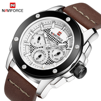NAVIFORCE Top Brand Luxury Mens Watch 24 Hour Date Week Display Quartz Watches Man Leather Sport