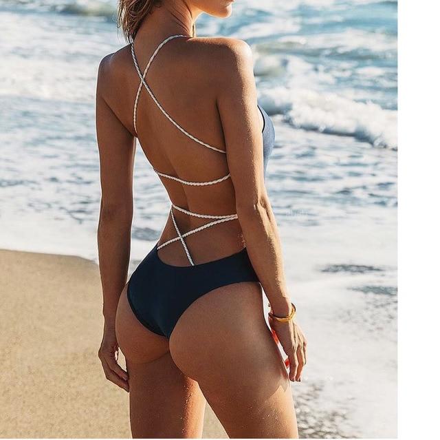 Sexy Strappy One Piece Girls Swimsuit Swimwear 2019 Women Female High Waist White Bikini Badeanzug Biquini Brasileiro Beach Wear 3