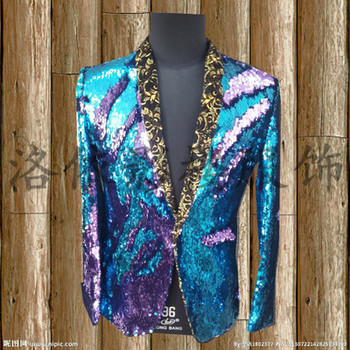 Free ship mens leopard full sequined green/gold/silver/red/blue luxury tuxedo jacket/bar/studio/dance/stage performance