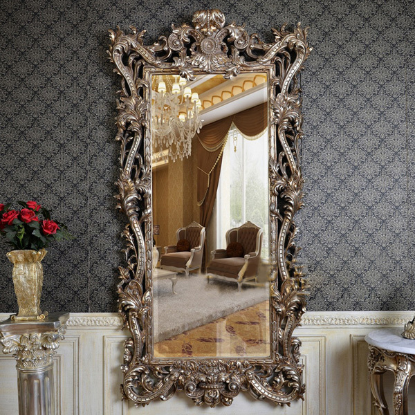 European Antique Refined Mirror Luxury Silver Frame Decor Wall Art Hotel or Beauty Salon or Bathroom & European Antique Refined Mirror Luxury Silver Frame Decor Wall Art ...