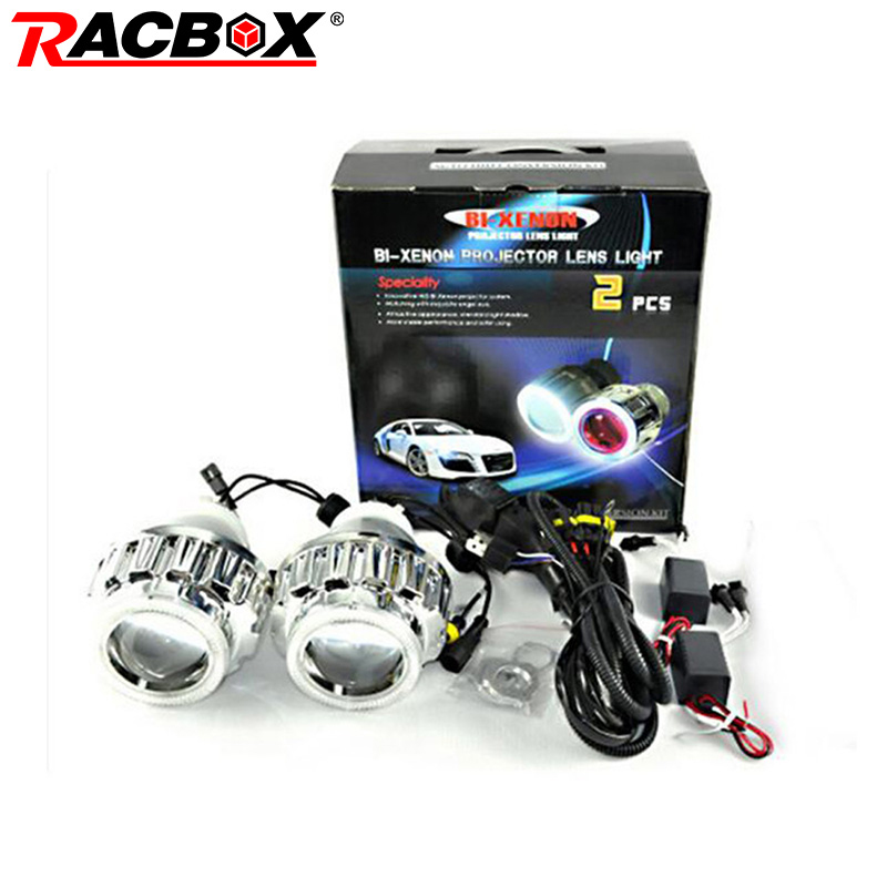 RACBOX 35W 2.8inch HID Bi Xenon Projector Lens Light LHD H1 H4 H7 6000K White CCFL Angel Eyes 6000K Xenon Bulb For Car Headlight 35w ccfl angel h1 h49005 9006 3 inch bi xenon h7 hid projector parking h4 in car light source