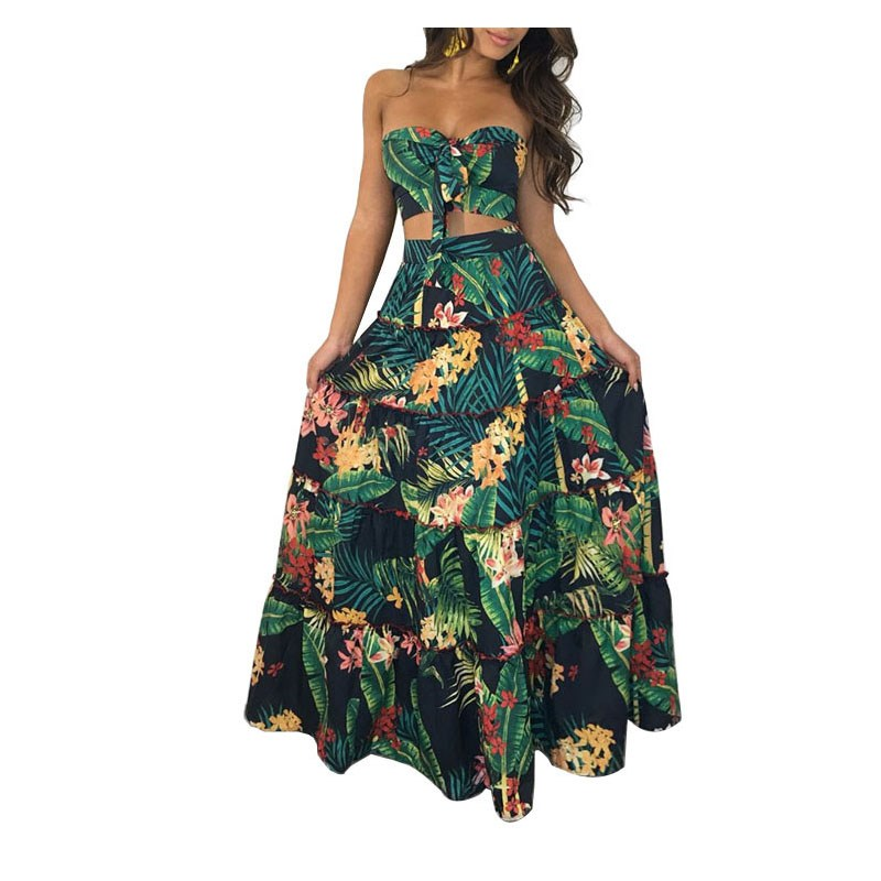Sexy Strapless Sleeveless Beach Wear Two Piece Dresses Women Ball Gown Summer Dress Floral Print Boho Bow Maxi Dress