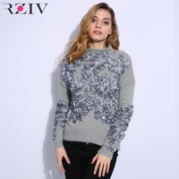 RZIV 2018 Autumn and winter women sweater and pullovers leisure female flowers embroidered patch knitted sweater