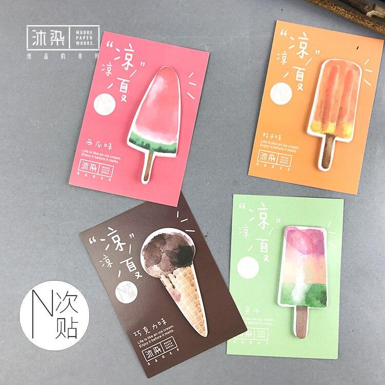 2pcs/lot Kawaii Cool Summer Kawaii Memo Pad Sticky Notes Cute Office Supplies Bookmark Paper Scrapbooking Sticker
