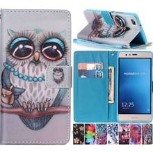 Case For Huawei P9 Lite Y3II Y5II Y6II P9Lite P9Mini Leather Phone Case Pattern Flower Butterfly Owl Cover Flip Wallet Bag P03Z(China)
