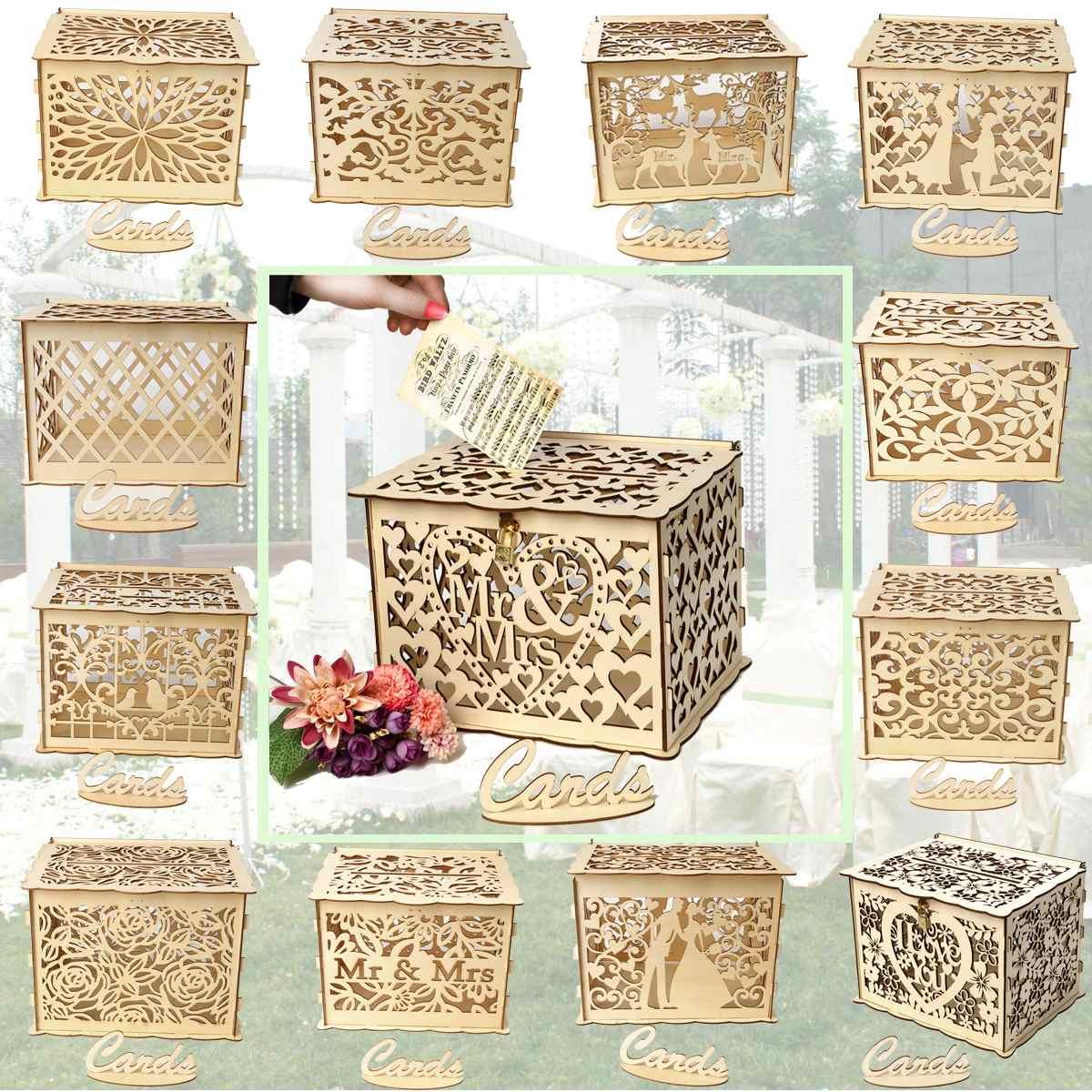 30x24x225cm diy wedding gift card box wooden money box
