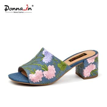 Donna-in Brand 2020 Summer Women Flip Flops Beach  Peep Toe High Heels Embroidered Slides Sandals Fashion Denim Ladies Shoes - discount item  56% OFF Women's Shoes