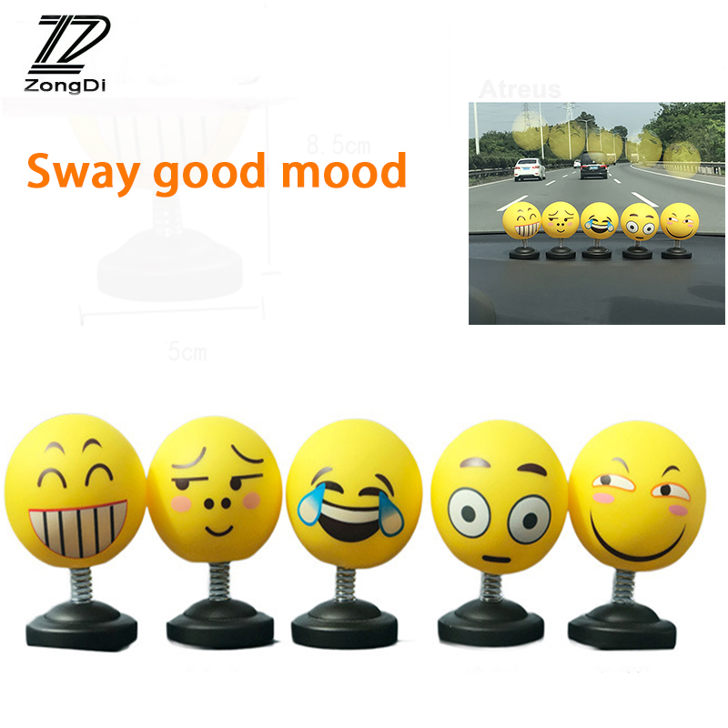 ZD Car Tumbler Face Expression Shake Doll Jewelry Stickers For Renault Megane 2 3 Duster VW Touran Passat B6 Golf T5 T4 Fiat 500