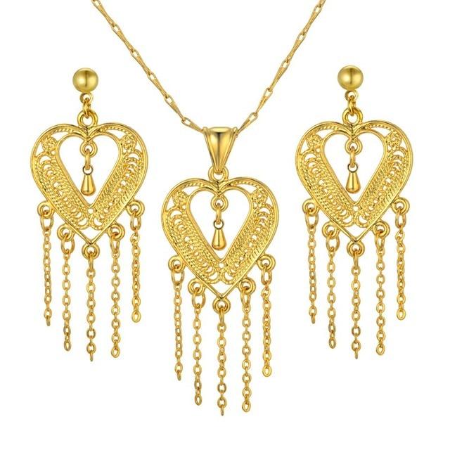 50238cd576b1 Oro de Dubai joyería conjuntos para mujeres oro Color corazón forma collar  pendientes conjunto para mujeres