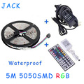 LED Strip Lights RGB 5050 5M/Set 60pcs/meter Waterproof With 24/44 Keys Remote Controller+ DC12V 5A Power Adapter