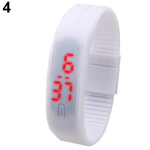 2018 de las mujeres de los hombres reloj de silicona de moda LED rojo deportes pulsera contacto Digital Reloj de pulsera
