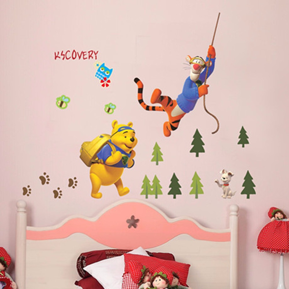 50pcs/Pack Removable Winnie The Pooh Advanture Wall Sticker Mural Decal Children Kids Bedroom Decor Nursery Family Quote