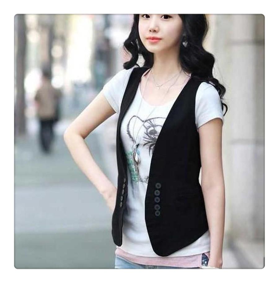 women solid black vest  (1)