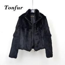 Top Brand Fur 100% Genuine Full Pelt Rabbit Fur Coat with Zipper High Street Casual Vintage Natural Fur Jacket TBSR258 цена
