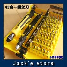 Freeshipping 45 en 1 juego de Destornilladores de Precisión de Reparación HQ Portátil Teléfono Celular Herramientas Soft Palo Jackly JK 6089 B