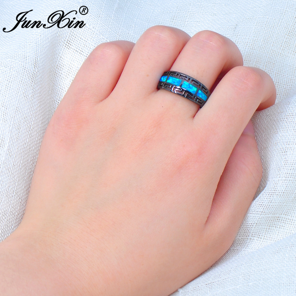 Aliexpress.com : Buy JUNXIN Male Female Blue Fire Opal Ring Black ...