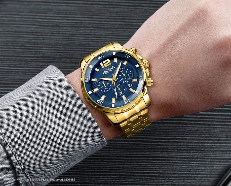 HTB1AmYKdCCWBuNjy0Fhq6z6EVXad Megir Men's Gold Stainless Steel Quartz Watches Business Chronograph Analgue Wristwatch for Man Waterproof Luminous 2068GGD-2N3