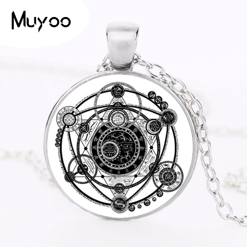2017 Sigil Magic Witchcraft Pendant Choker Statement Silver Necklace For Women Dress Accessories Glass Cabochon Jewelry 001 HZ1