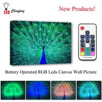 RGB Led Canvas Wall Decorative Dancing colorful Peacock Picture Canvas Print Illuminated painting lighted UP kids gift