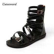 2019 Summer Children Sandals Fashion Roman Boots High-top Girls Kids Gladiator Sandal Pu Leather Shoes White Black