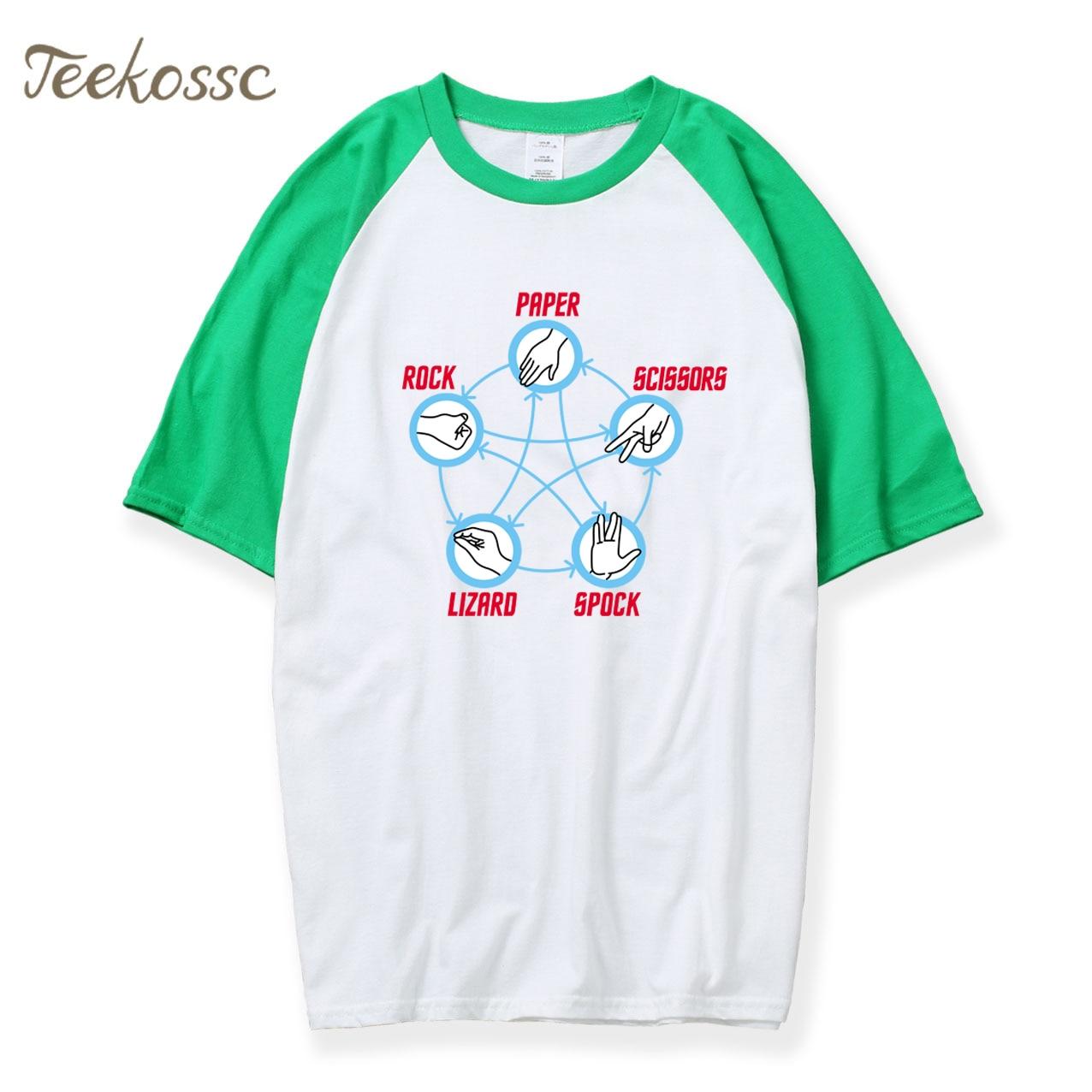 The Big Bang Theory T Shirt Men Rock Paper Scissors Lizard Spock T-Shirt 2018 Hot Summer Raglan Tshirt Cotton Mens TV Shirts Top