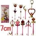 8 unids Sailor Moon Tsukino Usagi Casquillo Del Oído Del Enchufe A Prueba de Polvo Colgante Palo Varita Mágica Cosplay Apoyos Collar de Arma Llavero Figura juguete