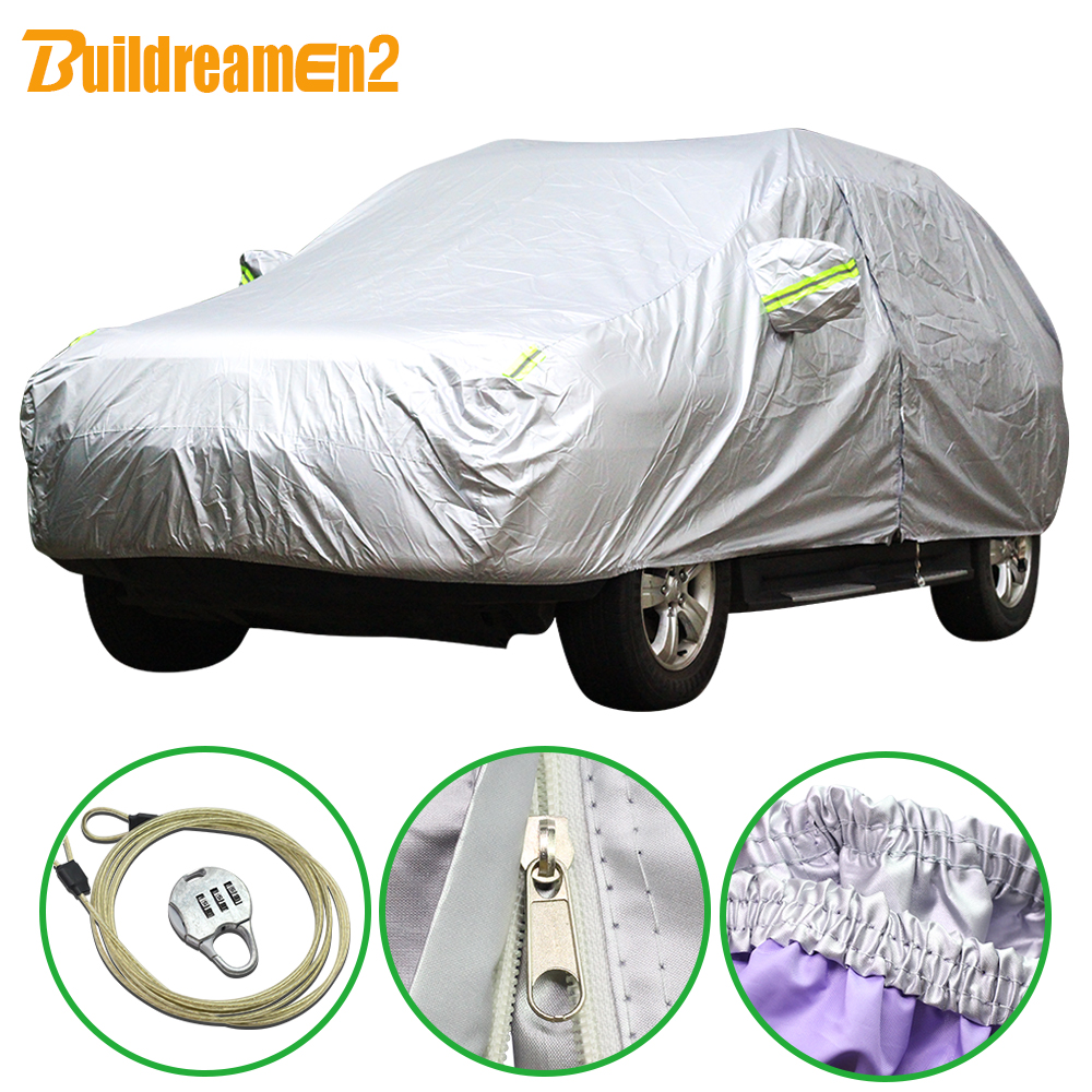 Buildreamen2 New Car SUV Sedan Hatchback Cover Anti-UV Outdoor Rain Shield Snow Protection Covers Sun Shade Styling Waterproof buildreamen2 waterproof car cover sunshade sedan hatchback anti uv sun rain snow hail protective thicken cotton car covers