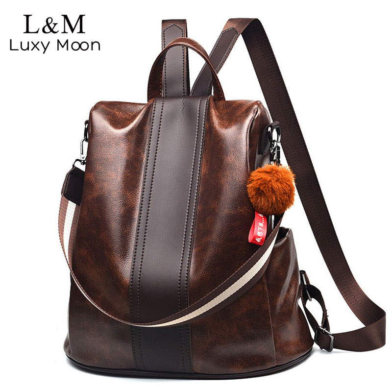 Leather Women Backpack Fashion School Bags For Girls Large Casual Anti-theft Black Travel Multifunction Female Backpacks XA276H