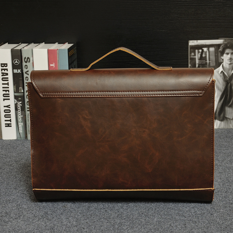 2018 Hot Men Briefcase Bag Business Package Crazy Horse Pu Leather Handbag Classic Shoulder In Top Handle Bags From Luggage On