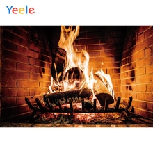 Yeele Fireplace Red Bricks Flame Warm Vitality Wood Photography Backdrops Personalized Photographic Backgrounds For Photo Studio