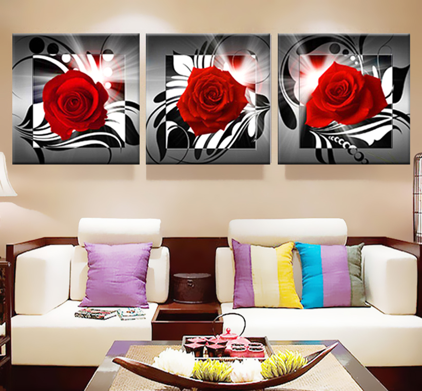 Obraz na płótnie Róże Modern Art Modułowe obrazy Obrazy do kuchni Plakat na ścianę Drukuj kwiaty tryptyk Wystrój domu