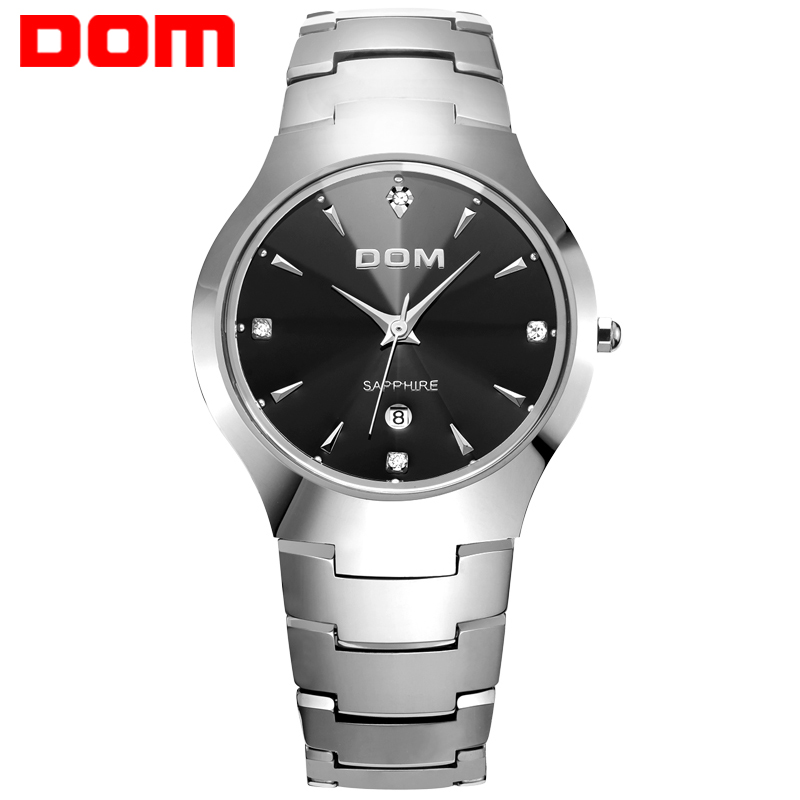 Dom 시계 남자 텅스텐 스틸 럭셔리 톱 브랜드 손목 30m 방수 비즈니스 사파이어 미러 쿼츠 시계 패션 W 698 1M-에서수정 시계부터 시계 의  그룹 1