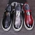 Мужская Повседневная Обувь 2016 Моды Натуральная Кожа Мужчины Мокасины Мокасины скольжения на Квартиры Мужчины Обувь Черный Красный Щепка 3 цвета