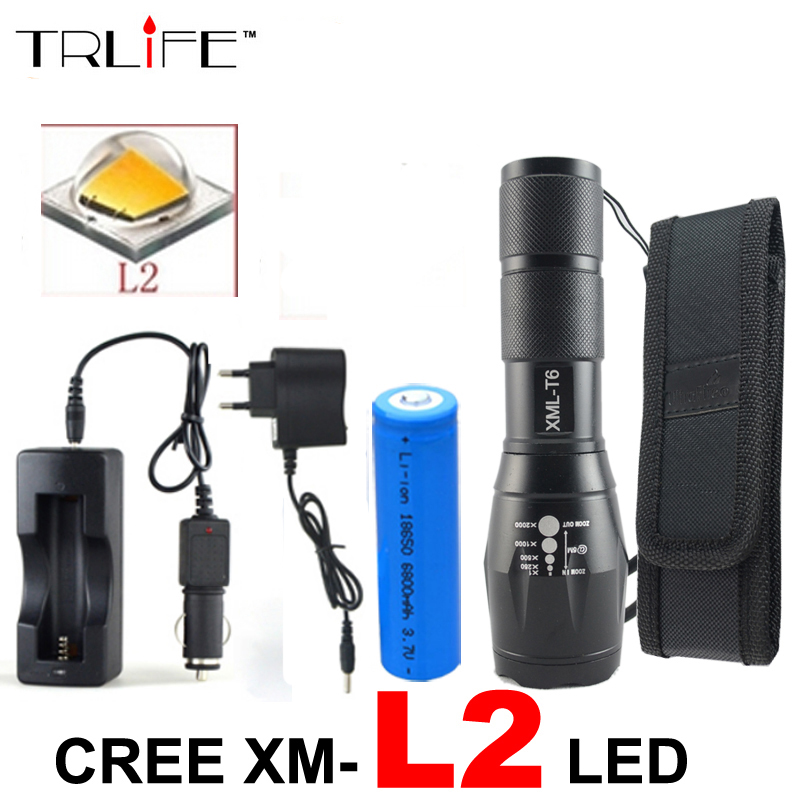 High Power 8000 Lumens Flashlight cree XML L2 Torch Adjustable Led Flashlight +DC/Car Charger+1*18650 Battery+Holster Holder cree xml t6 3000lm adjustable led flashlight led torch car charger battery charger 18650 rechargeable battery holster zk10