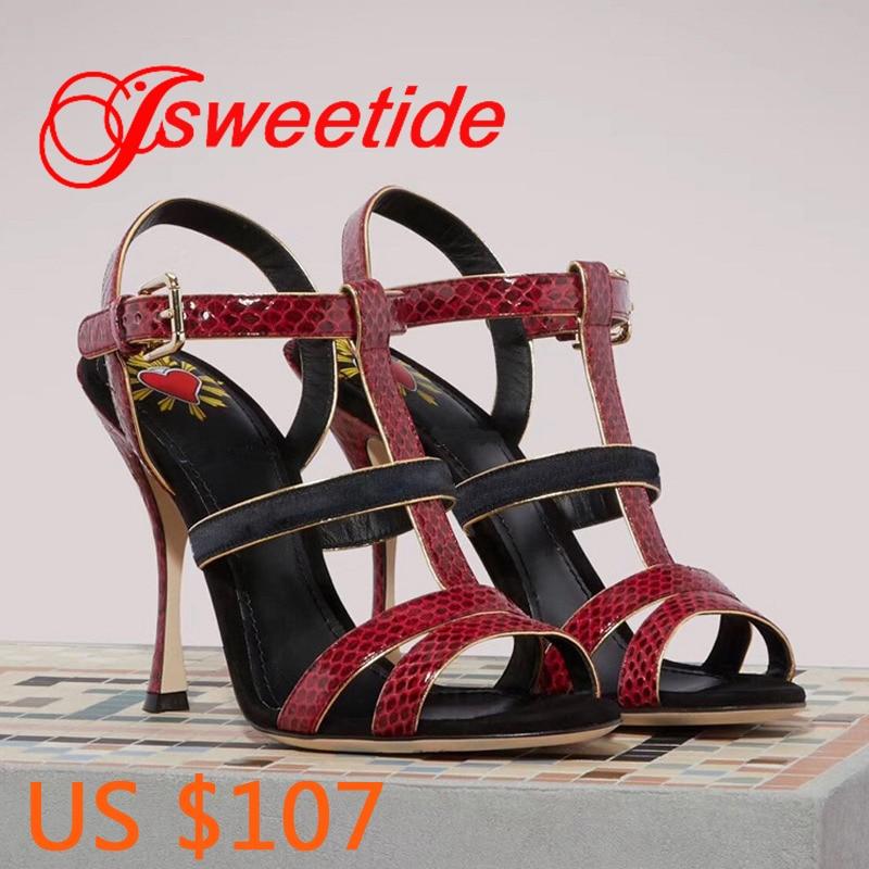 Women Brand Snake skin high heel Sandals Women Open Toe Sexy High Heels Sandals Leather bottom