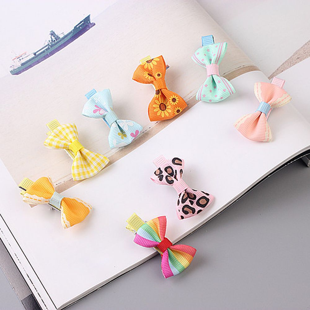 5pcs Color Random Dog Kitten Puppy Cute Pet Grooming Floral Solid Cotton Bow Flower Hairpins Butterfly Hair Clips Hair Barrette #6