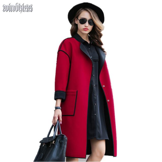 2016 Nueva otoño invierno mujeres de lana de abrigo abrigo de las mujeres de La Chaqueta de Señora larga de la marca femenina casacos femininos