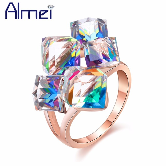 49% Off Square Stones Jewelry Rose Gold Color Rings Women Bijoux Blue/Red Cubic