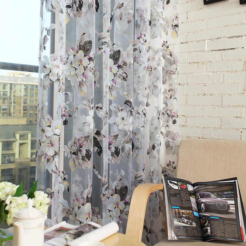 Topfinel Moderna Tende Trasparenti per Soggiorno Floreale Tulle Complementi Arredo per le finestre della Camera Da Letto Cucina Pannello Tende e Tende
