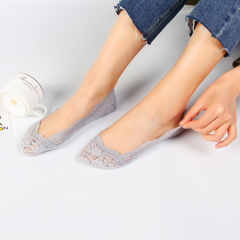 1 Pair Fashion Women Girls ECMLN Summer   Socks   Style Breathable Lace Flower Short   Sock   Antiskid Invisible Ankle   Socks   2019 Sox