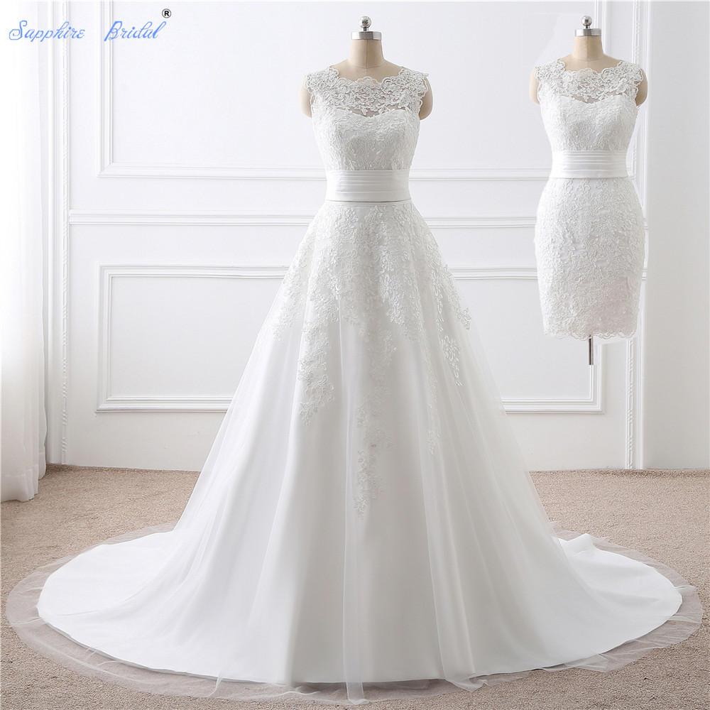 Sapphire Bridal Vestido De Noiva Two Pieces Bridal Wedding Gowns 2 in 1 Wedding Dress With Detachable Skirt