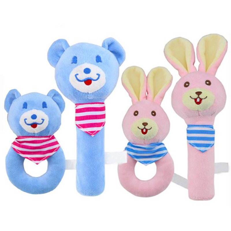 Toddler Baby Toys Cartoon Baby Boy Girl Rattles Infant Animal Hand Bell Kid Plush Toy Development Gifts 0-12 Months