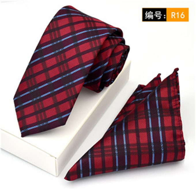 Apparel Accessories Scst Brand New Gravata Red Plaid Print Slim Mens Neckties Skinny Ties For Men Silk Tie With Match Pocket Square 2pcs Set Cr060