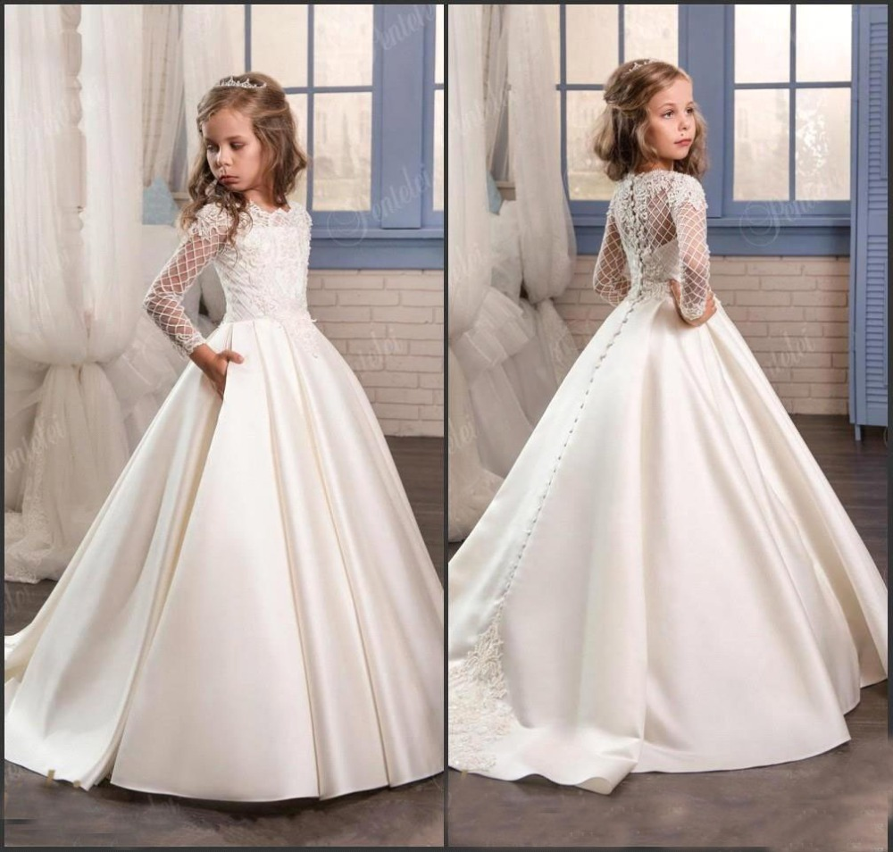 Princess Lace   Flower     Girl     Dresses   2018 Long Sleeves First Communion Birthday Party   Dresses     Girls   Pageant   Dress   For Wedding