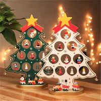 New Hot DIY Mini Wooden Christmas Trees Decor Ornaments Festival Party Xmas Tree Table Desk Decoration Children Christmas Gifts